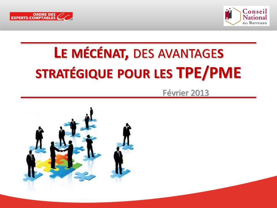 L E MÉCÉNAT, DES AVANTAGES STRATÉGIQUE POUR LES TPE/PME Février 2013