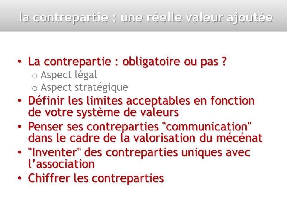 la contrepartie : une réelle valeur ajoutée La contrepartie : obligatoire ou pas ? La contrepartie : obligatoire ou pas ? o Aspect légal o Aspect stra