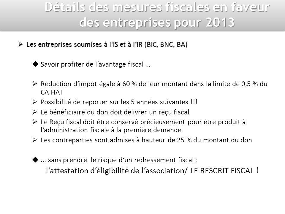 Détails des mesures fiscales en faveur des entreprises pour 2013 Les entreprises soumises à lIS et à lIR (BIC, BNC, BA) Les entreprises soumises à lIS