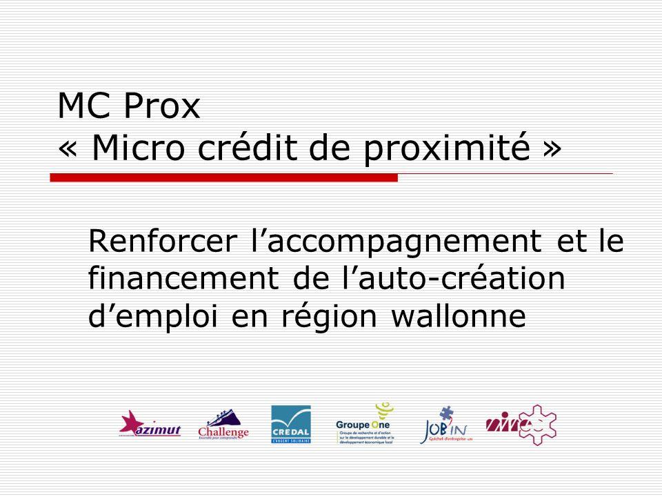MC Prox « Micro crédit de proximité » Renforcer laccompagnement et le financement de lauto-création demploi en région wallonne