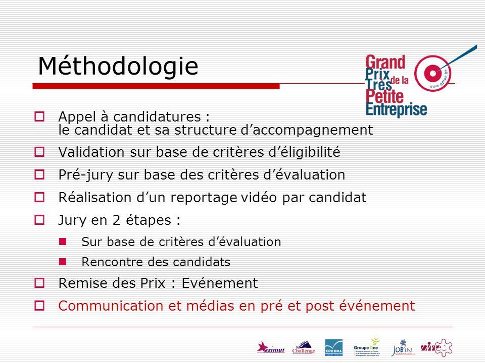 Appel à candidatures : le candidat et sa structure daccompagnement Validation sur base de critères déligibilité Pré-jury sur base des critères dévalua