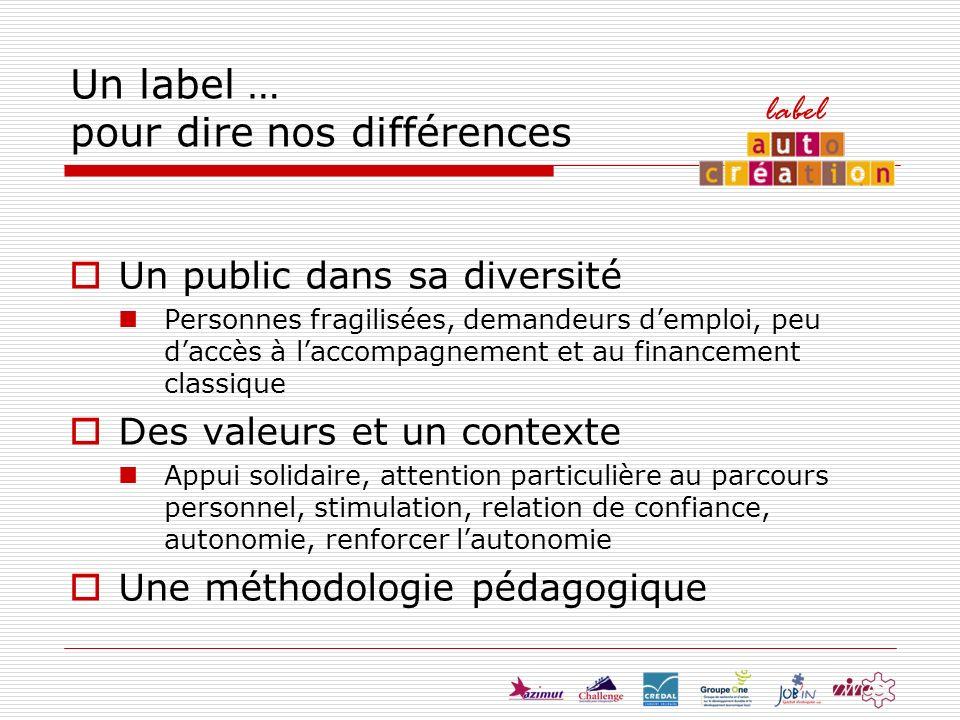 Un label … pour dire nos différences Un public dans sa diversité Personnes fragilisées, demandeurs demploi, peu daccès à laccompagnement et au finance