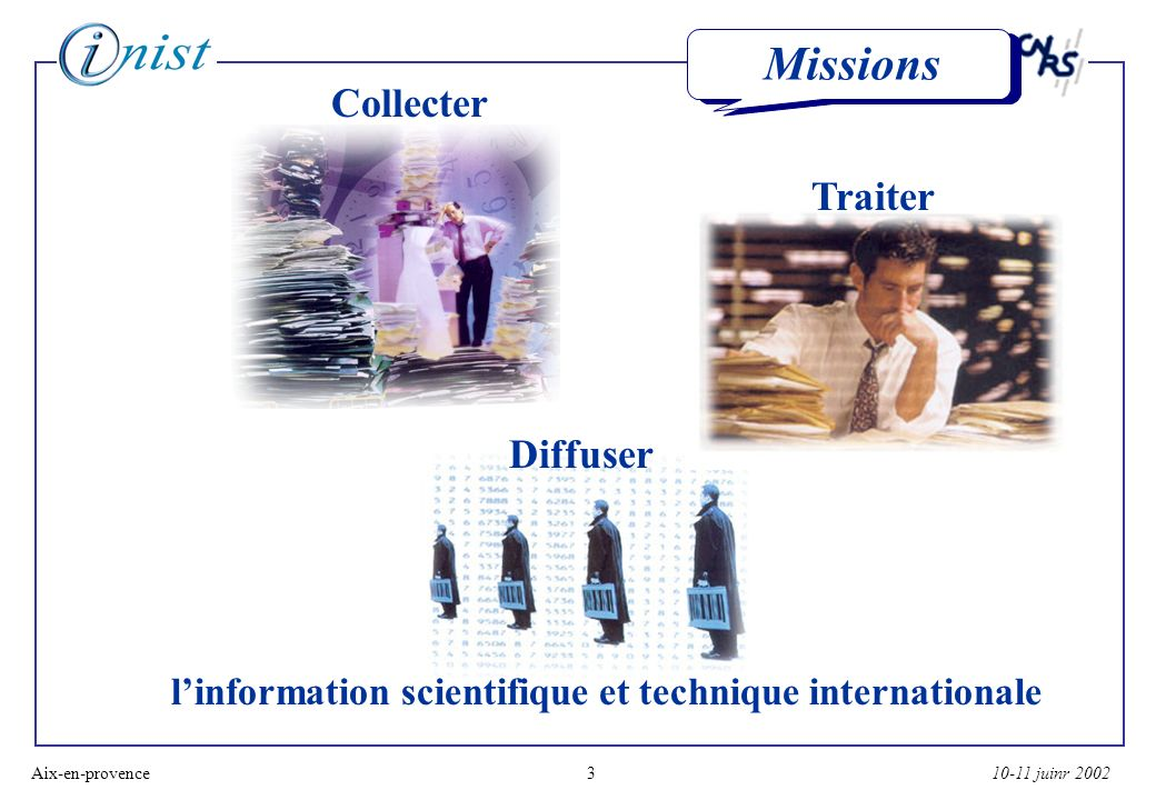 10-11 juinr 2002Aix-en-provence3 Missions Collecter Traiter Diffuser linformation scientifique et technique internationale