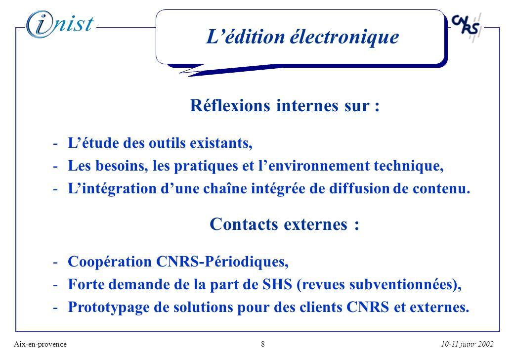 10-11 juinr 2002Aix-en-provence8 Lédition électronique Réflexions internes sur : -Létude des outils existants, -Les besoins, les pratiques et lenvironnement technique, -Lintégration dune chaîne intégrée de diffusion de contenu.