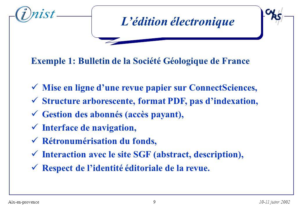 10-11 juinr 2002Aix-en-provence10 Lédition électronique Exemple 1: Bulletin de la Société Géologique de France: