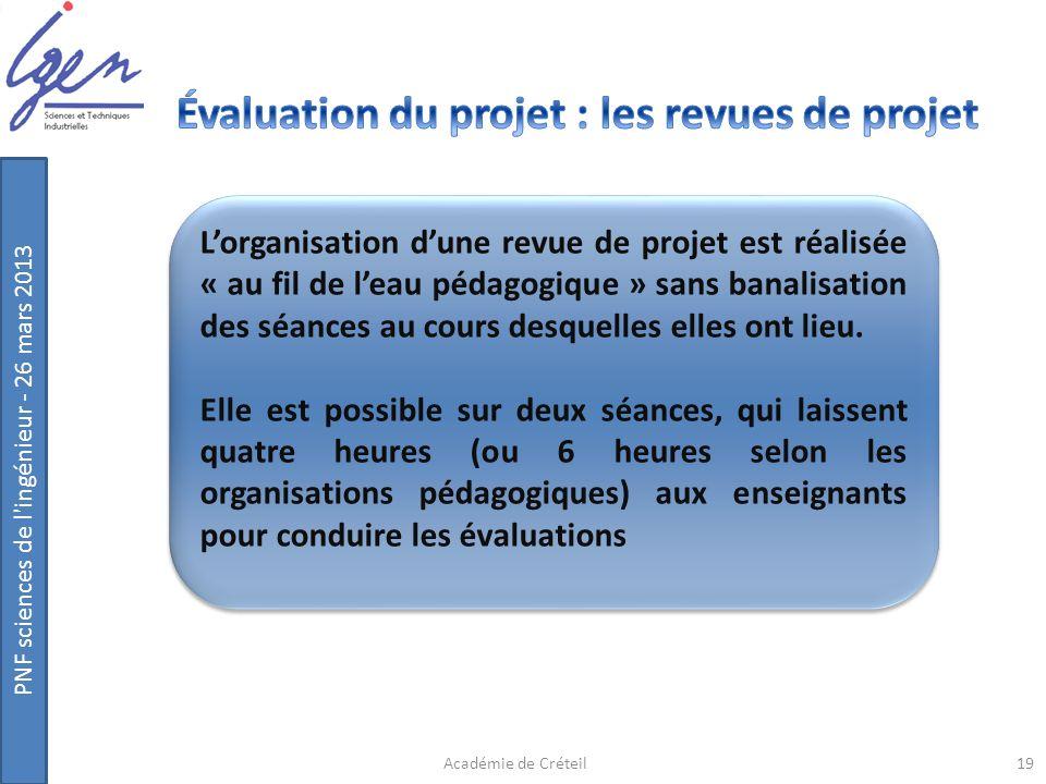 PNF sciences de l'ingénieur - 26 mars 2013 19Académie de Créteil Lorganisation dune revue de projet est réalisée « au fil de leau pédagogique » sans b