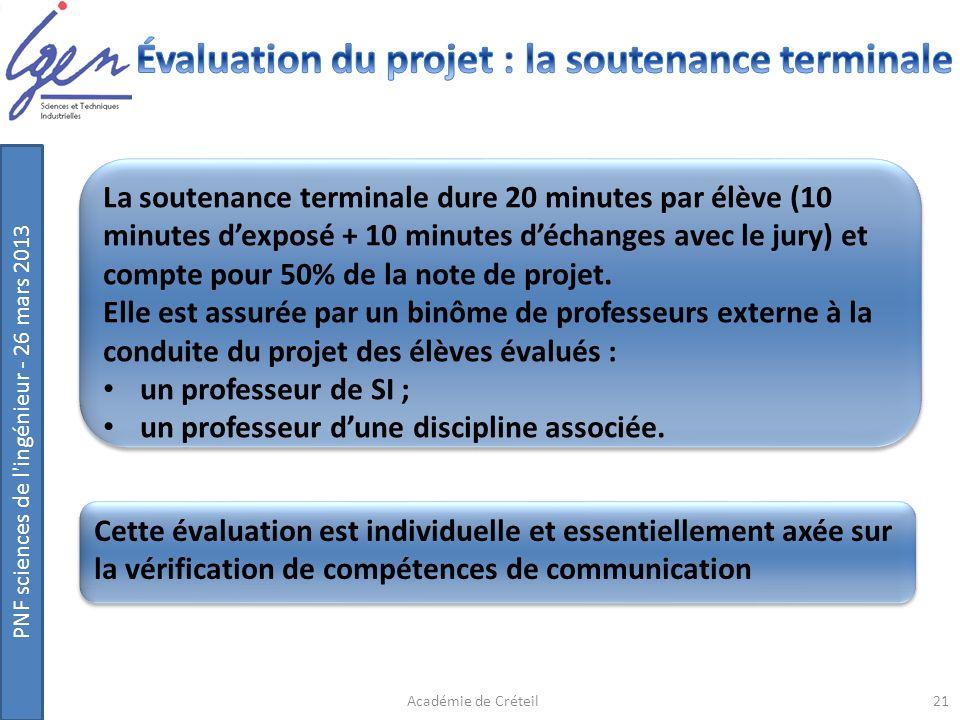 PNF sciences de l'ingénieur - 26 mars 2013 La soutenance terminale dure 20 minutes par élève (10 minutes dexposé + 10 minutes déchanges avec le jury)