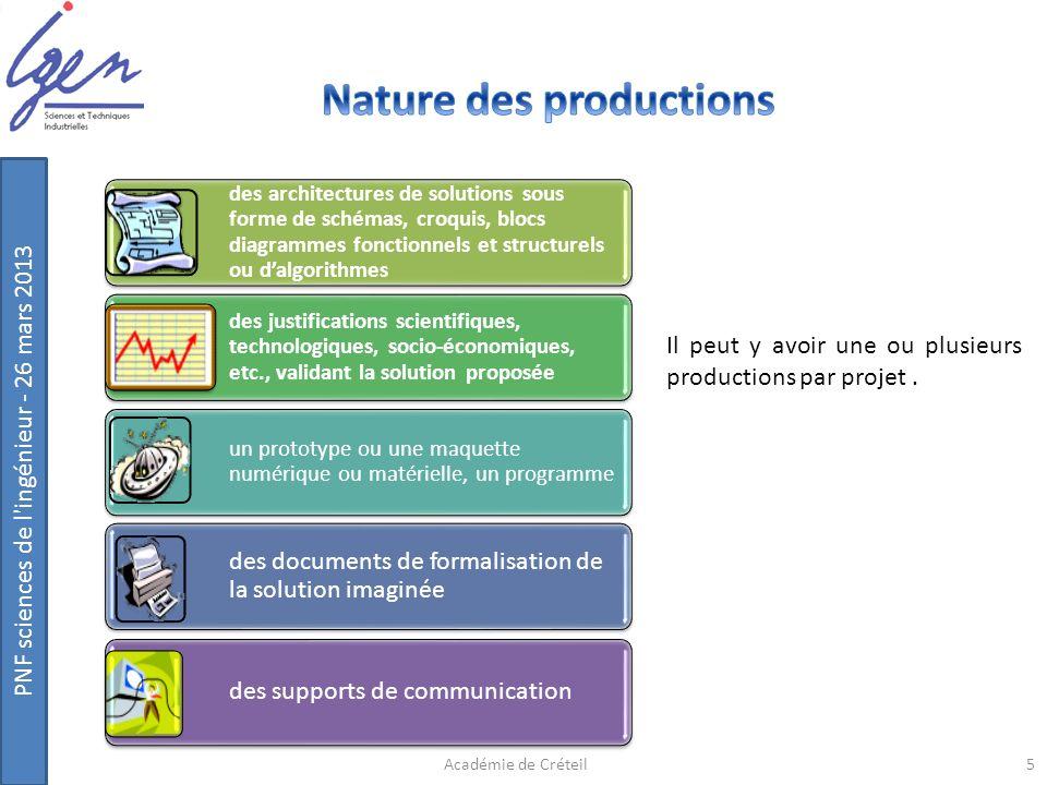 PNF sciences de l'ingénieur - 26 mars 2013 Il peut y avoir une ou plusieurs productions par projet. des architectures de solutions sous forme de schém