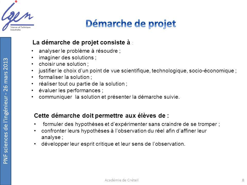 PNF sciences de l'ingénieur - 26 mars 2013 Cette démarche doit permettre aux élèves de : formuler des hypothèses et dexpérimenter sans craindre de se