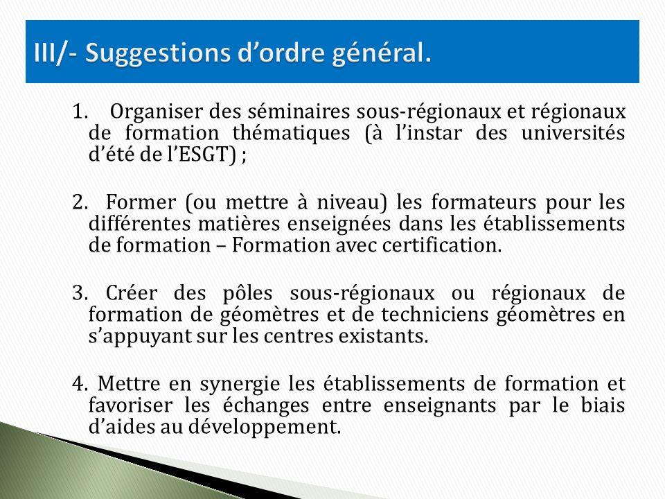 1. Organiser des séminaires sous-régionaux et régionaux de formation thématiques (à linstar des universités dété de lESGT) ; 2. Former (ou mettre à ni