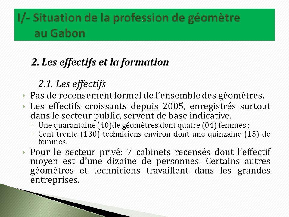 2. Les effectifs et la formation 2.1.