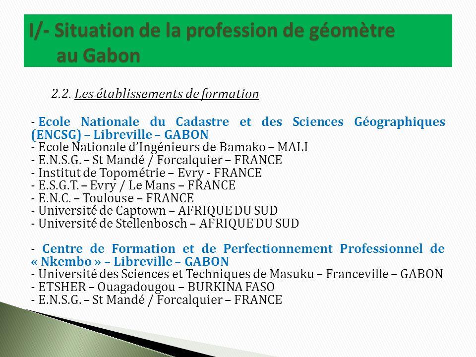 2.2. Les établissements de formation - Ecole Nationale du Cadastre et des Sciences Géographiques (ENCSG) – Libreville – GABON - Ecole Nationale dIngén