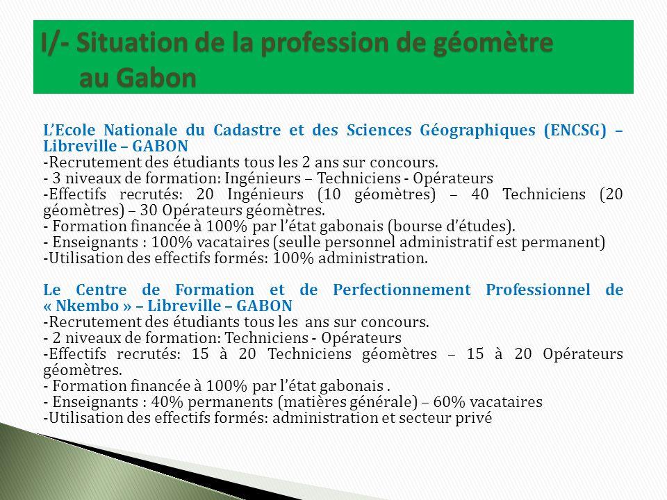 LEcole Nationale du Cadastre et des Sciences Géographiques (ENCSG) – Libreville – GABON -Recrutement des étudiants tous les 2 ans sur concours.