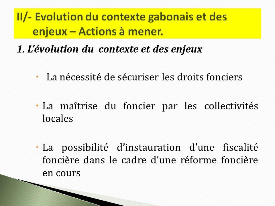 La nécessité de sécuriser les droits fonciers La maîtrise du foncier par les collectivités locales La possibilité dinstauration dune fiscalité foncière dans le cadre dune réforme foncière en cours 1.