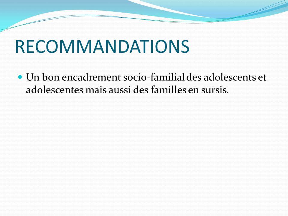 RECOMMANDATIONS Un bon encadrement socio-familial des adolescents et adolescentes mais aussi des familles en sursis.