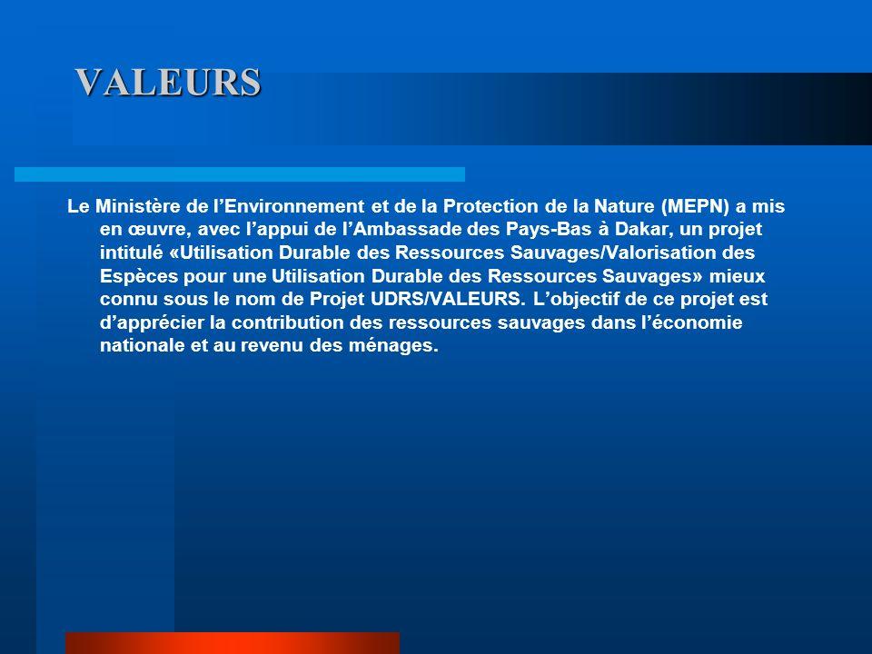 VALEURS Le Ministère de lEnvironnement et de la Protection de la Nature (MEPN) a mis en œuvre, avec lappui de lAmbassade des Pays-Bas à Dakar, un proj
