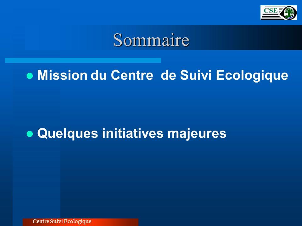Mission du Centre LE CSE a pour objet la collecte, la saisie, le traitement, l analyse et la diffusion des données et des informations sur le territoire, sur les ressources naturelles et sur les infrastructures en vue de l amélioration de la gestion des ressources et de l environnement, à tous les niveaux de décision Centre Suivi Ecologique