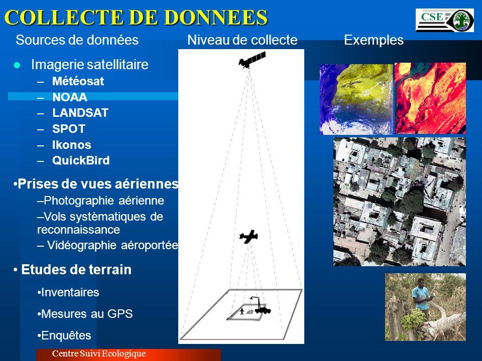 Centre Suivi Ecologique COLLECTE DE DONNEES Imagerie satellitaire –Météosat –NOAA –LANDSAT –SPOT –Ikonos –QuickBird Sources de donnéesNiveau de collec