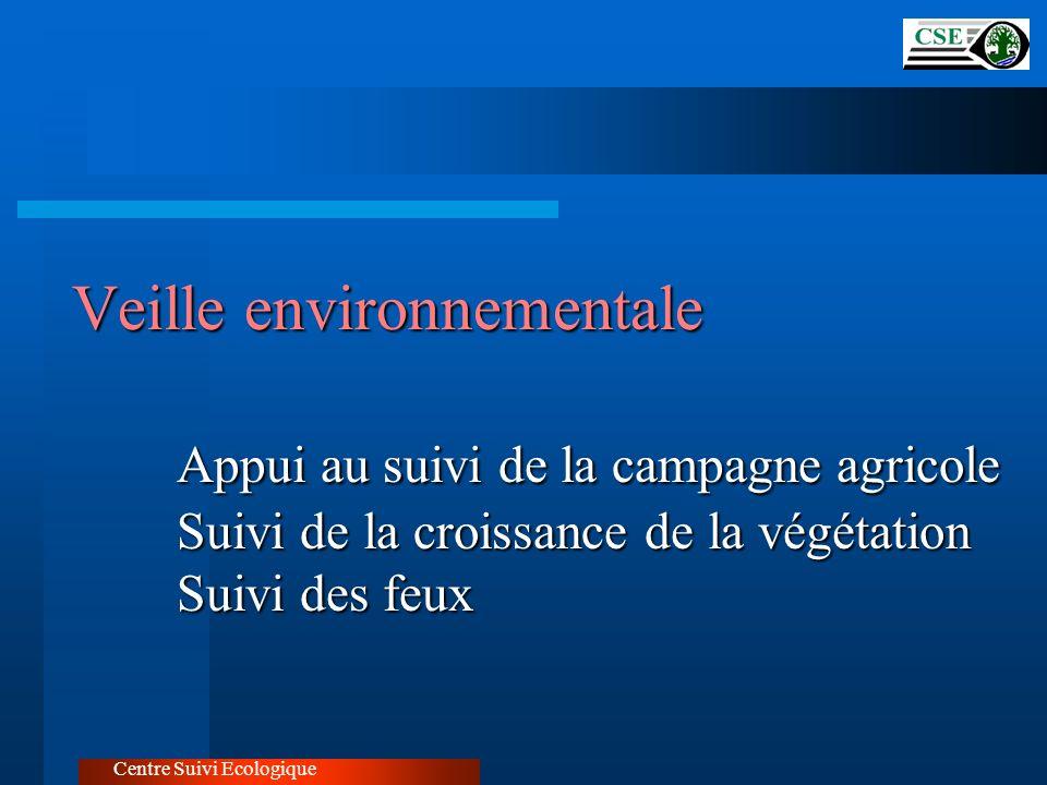 Veille environnementale Appui au suivi de la campagne agricole Suivi de la croissance de la végétation Suivi des feux Centre Suivi Ecologique