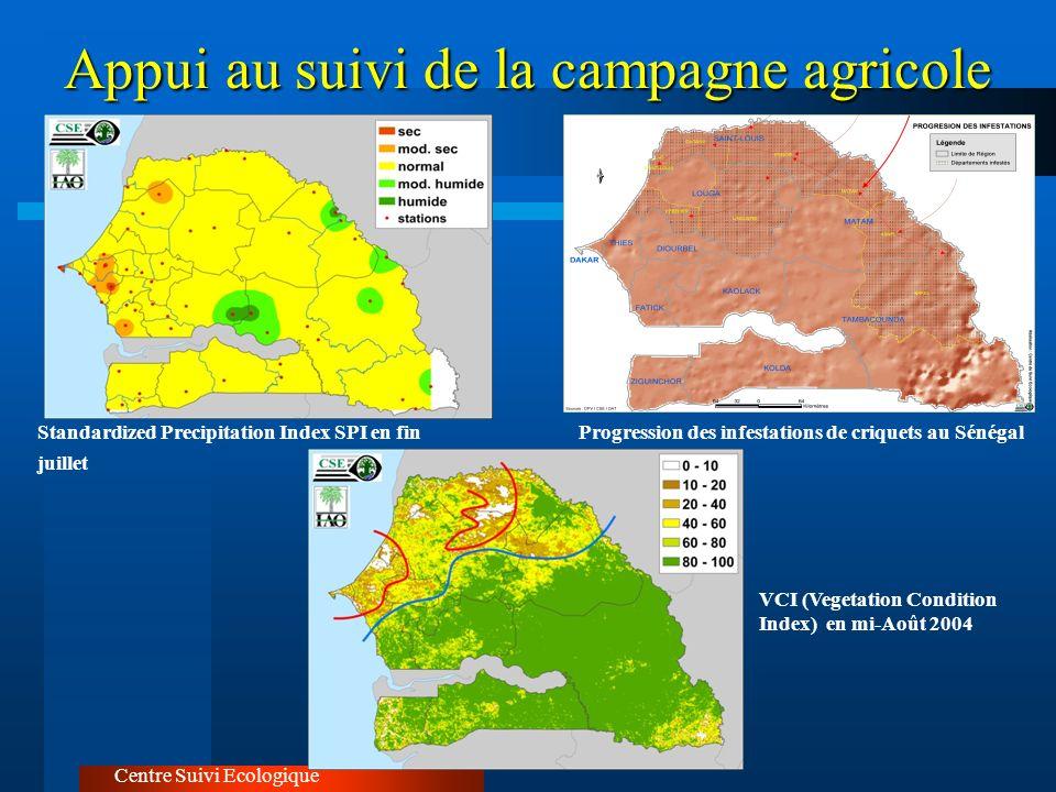Appui au suivi de la campagne agricole Centre Suivi Ecologique Progression des infestations de criquets au SénégalStandardized Precipitation Index SPI