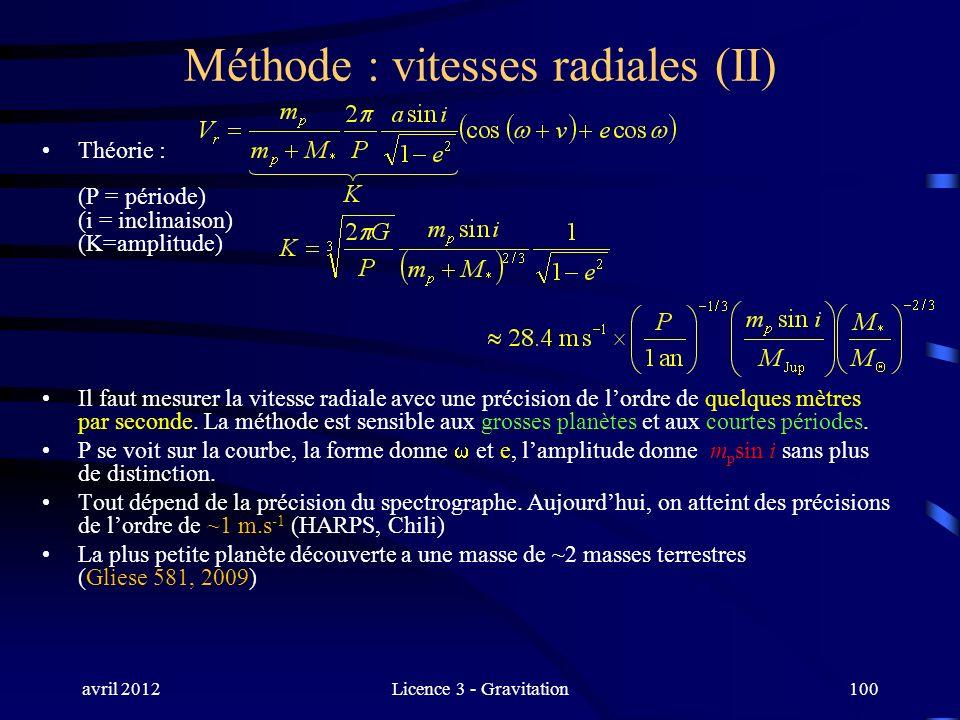 avril 2012Licence 3 - Gravitation100 Méthode : vitesses radiales (II) Théorie : (P = période) (i = inclinaison) (K=amplitude) Il faut mesurer la vites