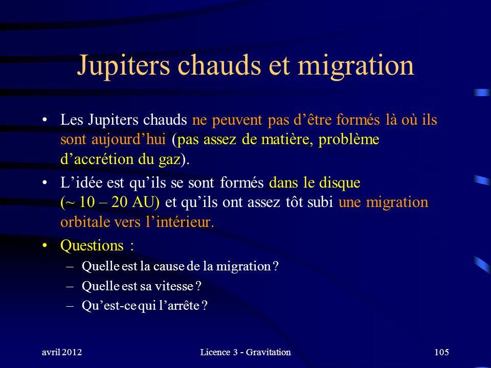 avril 2012Licence 3 - Gravitation105 Jupiters chauds et migration Les Jupiters chauds ne peuvent pas dêtre formés là où ils sont aujourdhui (pas assez