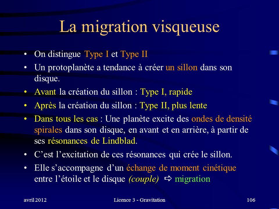 avril 2012Licence 3 - Gravitation106 La migration visqueuse On distingue Type I et Type II Un protoplanète a tendance à créer un sillon dans son disqu