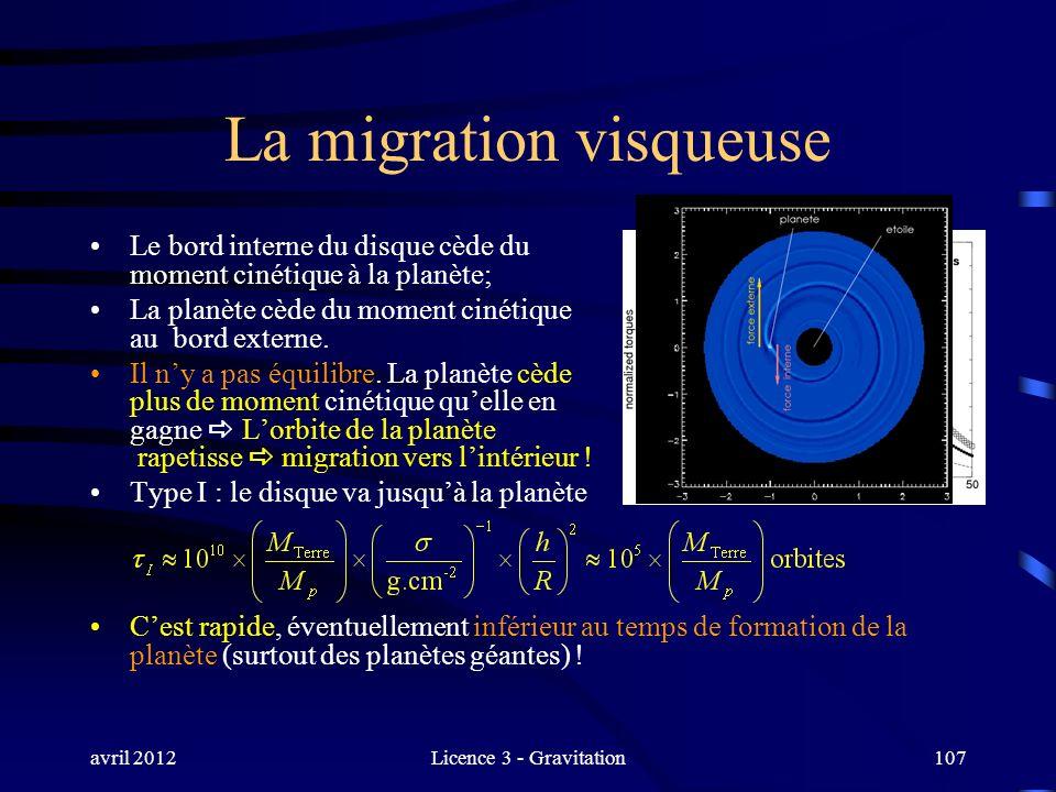 avril 2012Licence 3 - Gravitation107 La migration visqueuse Le bord interne du disque cède du moment cinétique à la planète; La planète cède du moment