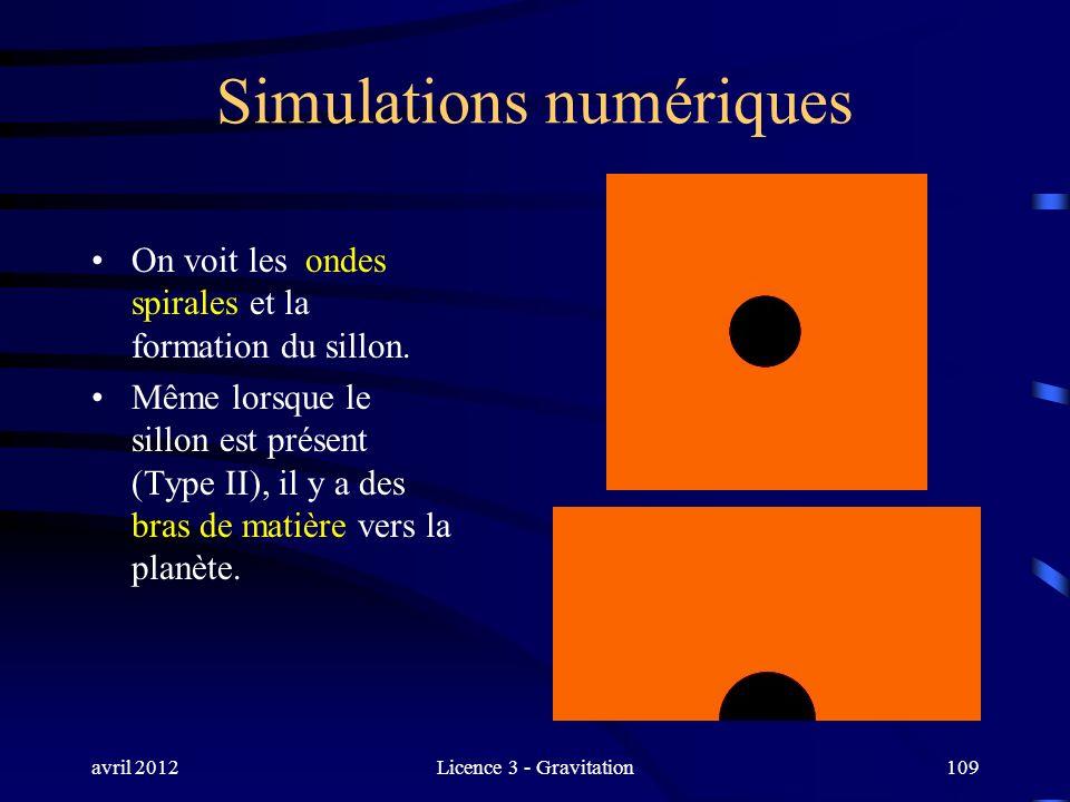 avril 2012Licence 3 - Gravitation109 Simulations numériques On voit les ondes spirales et la formation du sillon. Même lorsque le sillon est présent (