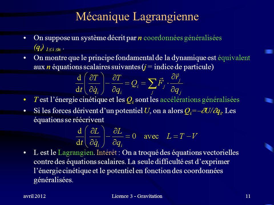 avril 2012Licence 3 - Gravitation Mécanique Lagrangienne On suppose un système décrit par n coordonnées généralisées (q i ) 1 i n. On montre que le pr