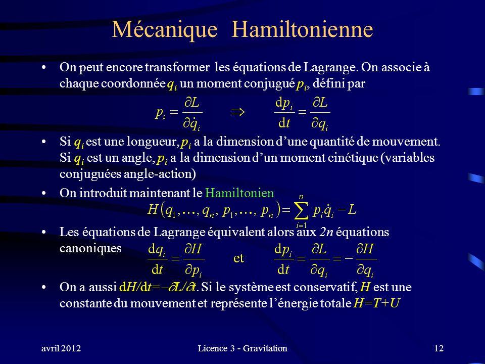 avril 2012Licence 3 - Gravitation Mécanique Hamiltonienne On peut encore transformer les équations de Lagrange. On associe à chaque coordonnée q i un