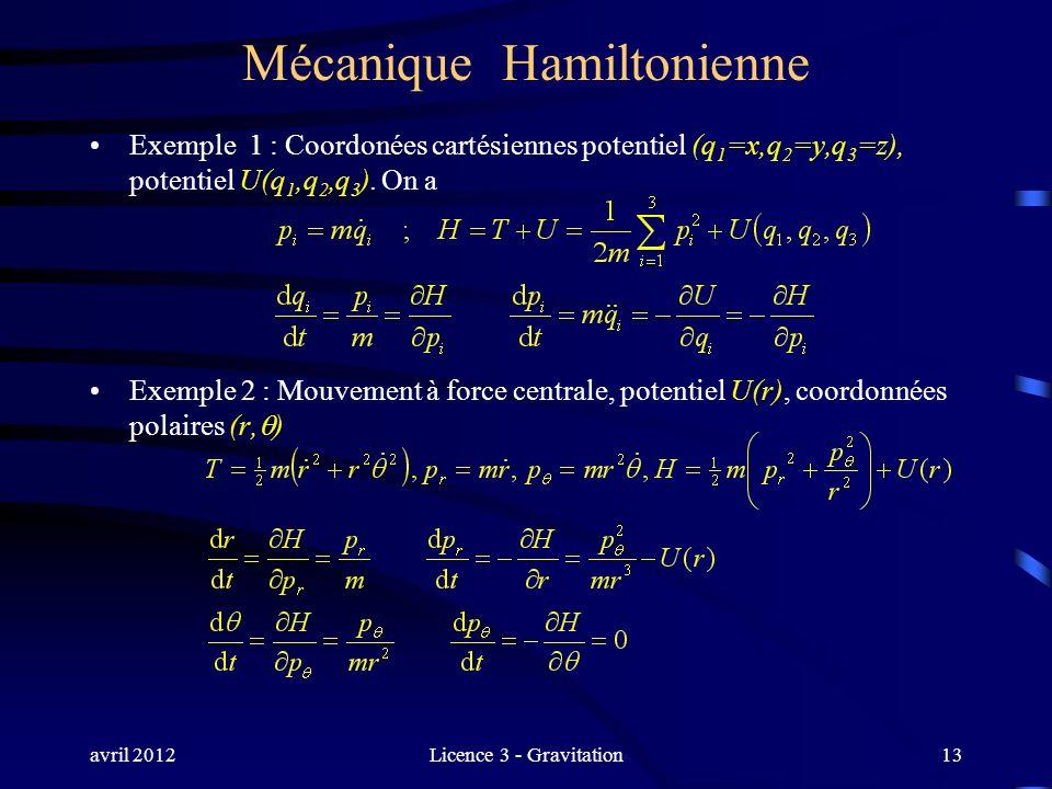 avril 2012Licence 3 - Gravitation Mécanique Hamiltonienne Exemple 1 : Coordonées cartésiennes potentiel (q 1 =x,q 2 =y,q 3 =z), potentiel U(q 1,q 2,q