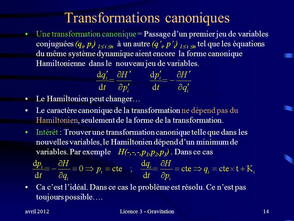 avril 2012Licence 3 - Gravitation Transformations canoniques Une transformation canonique = Passage dun premier jeu de variables conjuguées (q i, p i