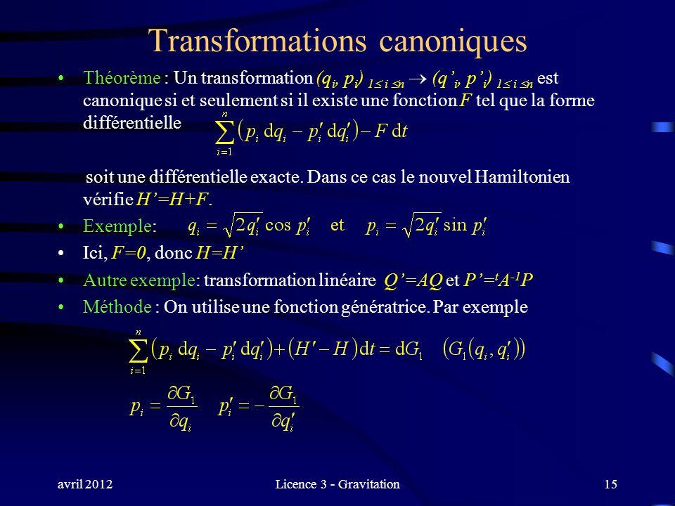 avril 2012Licence 3 - Gravitation Transformations canoniques Théorème : Un transformation (q i, p i ) 1 i n (q i, p i ) 1 i n est canonique si et seul