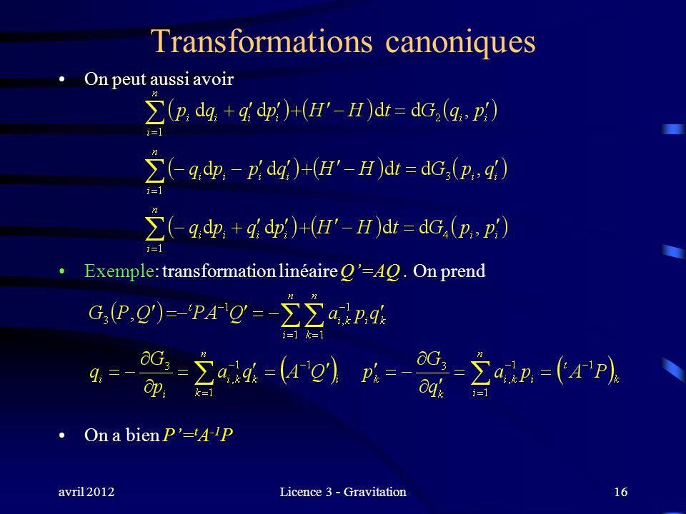 avril 2012Licence 3 - Gravitation Transformations canoniques On peut aussi avoir Exemple: transformation linéaire Q=AQ. On prend On a bien P= t A -1 P