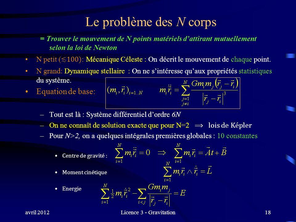 avril 2012Licence 3 - Gravitation Le problème des N corps = Trouver le mouvement de N points matériels dattirant mutuellement selon la loi de Newton N