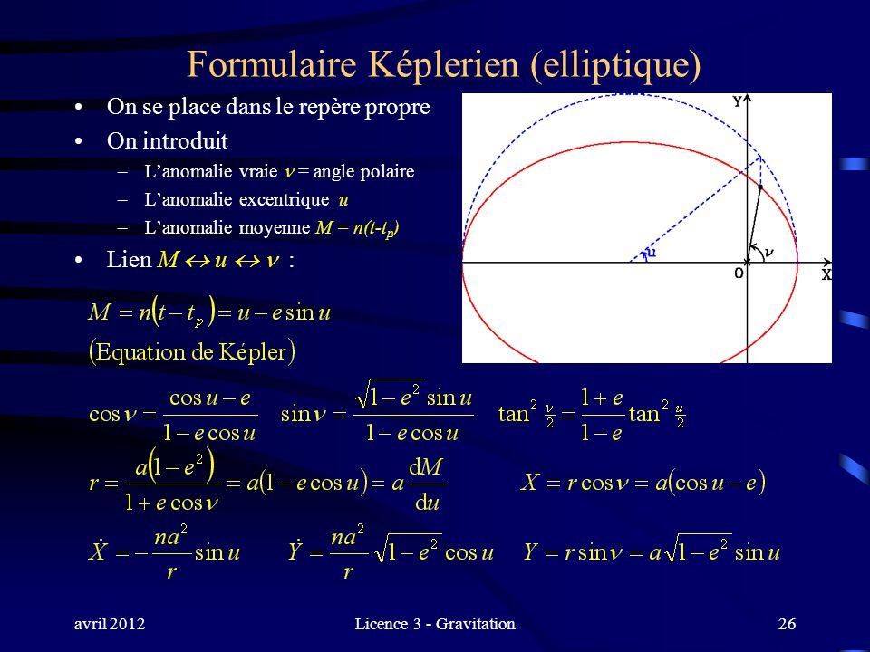 avril 2012Licence 3 - Gravitation Formulaire Képlerien (elliptique) On se place dans le repère propre On introduit –Lanomalie vraie = angle polaire –L