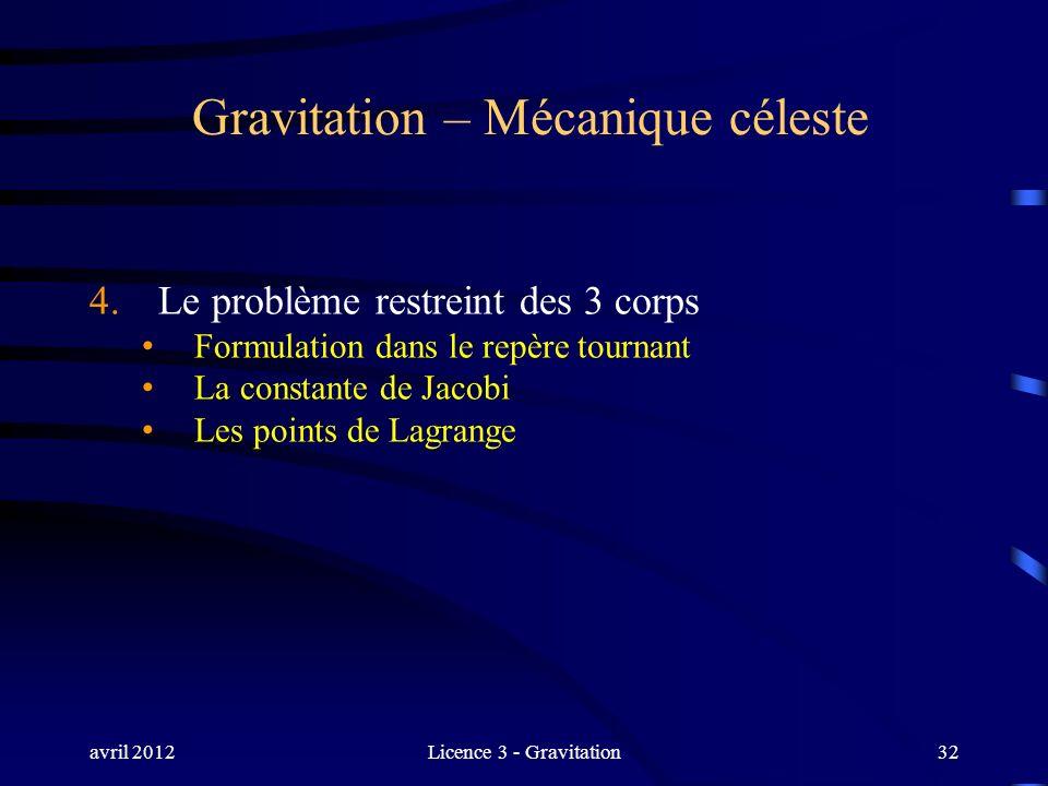 avril 2012Licence 3 - Gravitation32 Gravitation – Mécanique céleste 4. Le problème restreint des 3 corps Formulation dans le repère tournant La consta