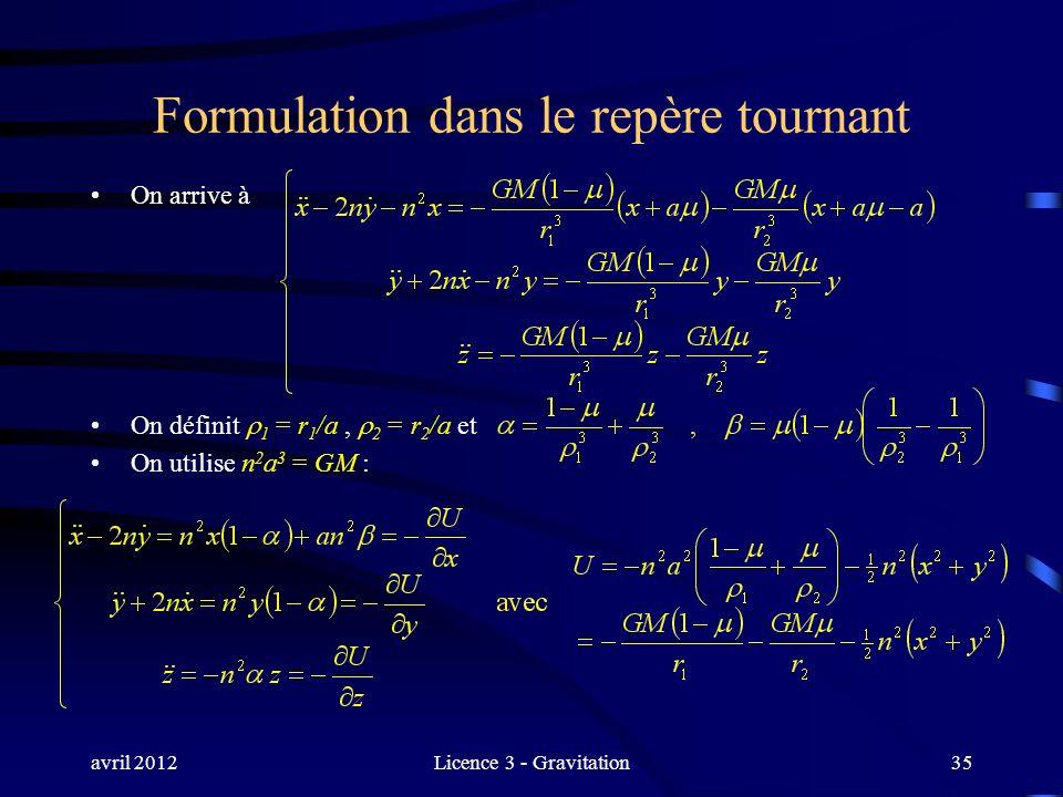 avril 2012Licence 3 - Gravitation35 Formulation dans le repère tournant On arrive à On définit 1 = r 1 /a, 2 = r 2 /a et On utilise n 2 a 3 = GM :