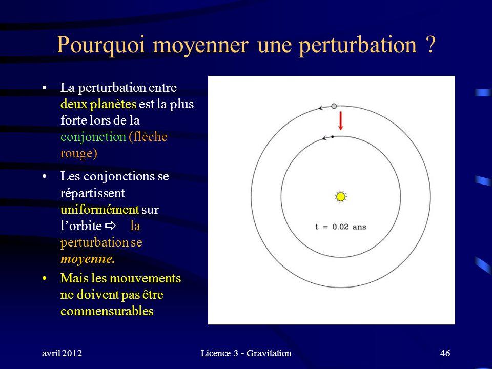 avril 2012Licence 3 - Gravitation46 Pourquoi moyenner une perturbation ? La perturbation entre deux planètes est la plus forte lors de la conjonction