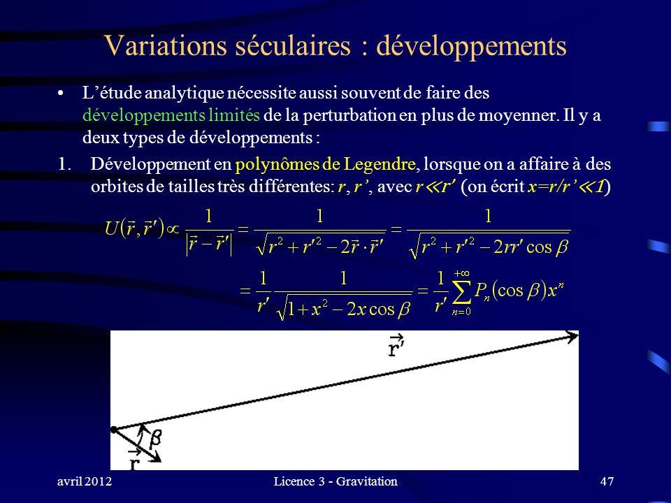 avril 2012Licence 3 - Gravitation Variations séculaires : développements Létude analytique nécessite aussi souvent de faire des développements limités