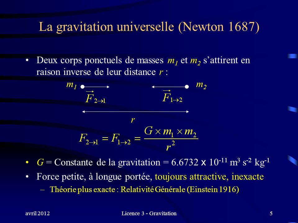 avril 2012Licence 3 - Gravitation5 La gravitation universelle (Newton 1687) Deux corps ponctuels de masses m 1 et m 2 sattirent en raison inverse de l