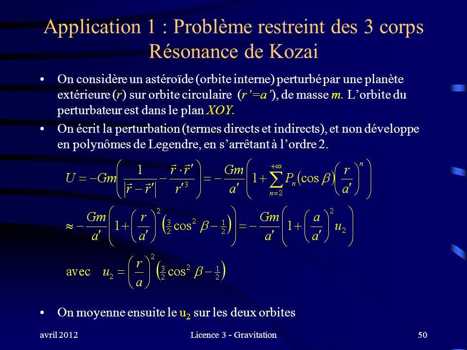avril 2012Licence 3 - Gravitation Application 1 : Problème restreint des 3 corps Résonance de Kozai On considère un astéroïde (orbite interne) perturb