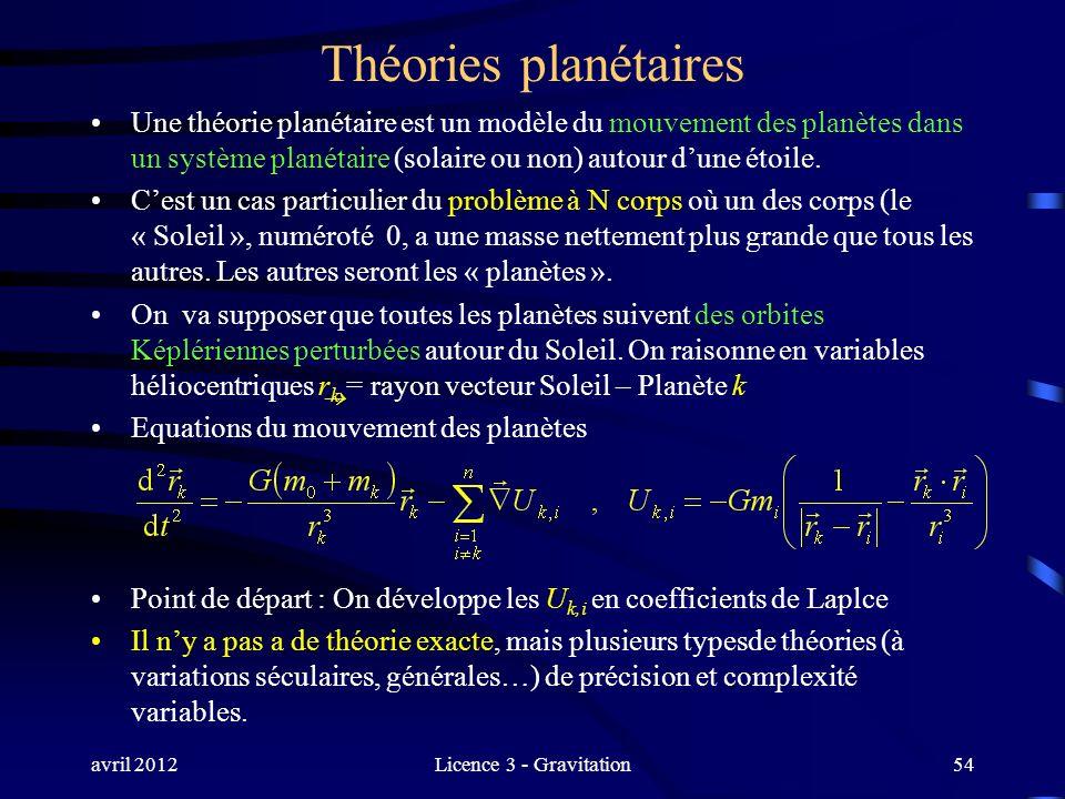 avril 2012Licence 3 - Gravitation Théories planétaires Une théorie planétaire est un modèle du mouvement des planètes dans un système planétaire (sola