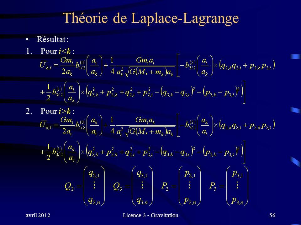avril 2012Licence 3 - Gravitation Théorie de Laplace-Lagrange Résultat : 1.Pour i<k : 2.Pour i>k : 56