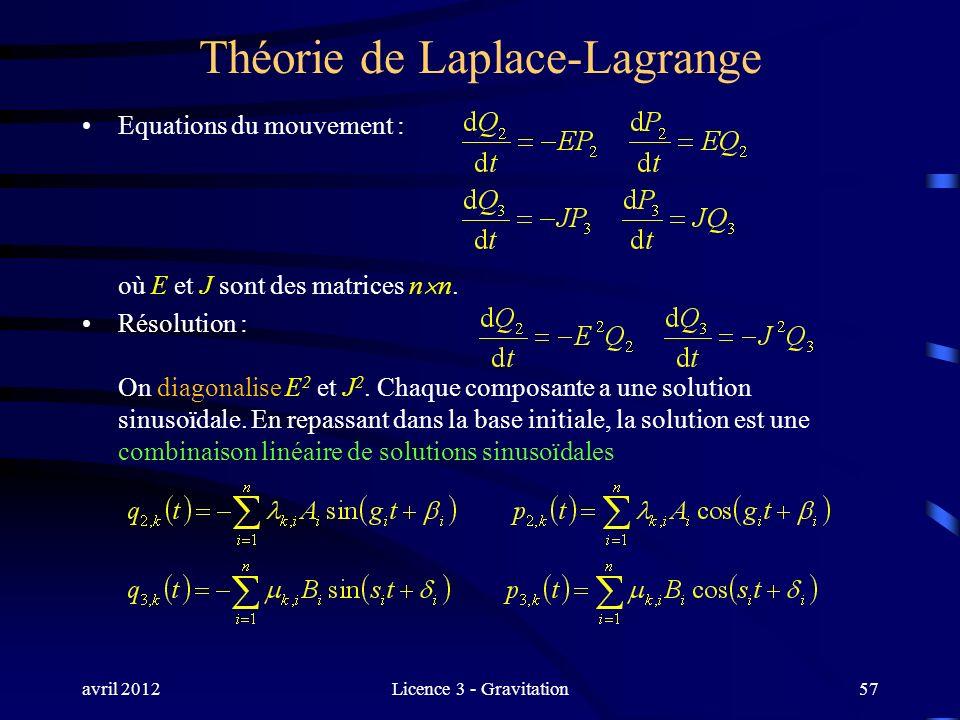 avril 2012Licence 3 - Gravitation Théorie de Laplace-Lagrange Equations du mouvement : où E et J sont des matrices n n. Résolution : On diagonalise E