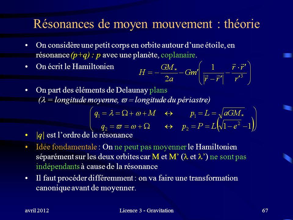 avril 2012Licence 3 - Gravitation67 Résonances de moyen mouvement : théorie On considère une petit corps en orbite autour dune étoile, en résonance (p