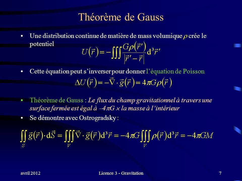 avril 2012Licence 3 - Gravitation7 Théorème de Gauss Une distribution continue de matière de mass volumique crée le potentiel Cette équation peut sinv