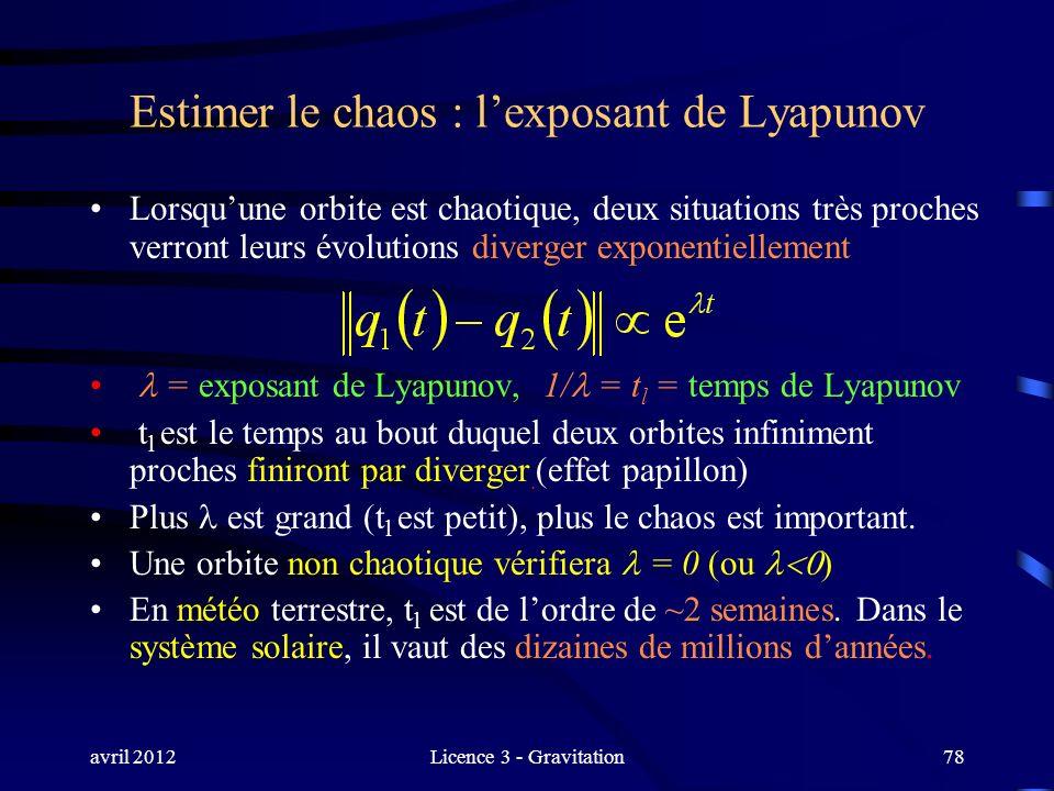 avril 2012Licence 3 - Gravitation78 Estimer le chaos : lexposant de Lyapunov Lorsquune orbite est chaotique, deux situations très proches verront leur