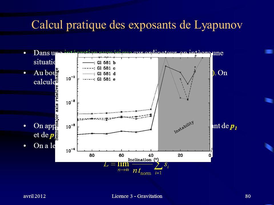 avril 2012Licence 3 - Gravitation80 Calcul pratique des exposants de Lyapunov Dans une intégration numérique sur ordinateur, on intègre une situation